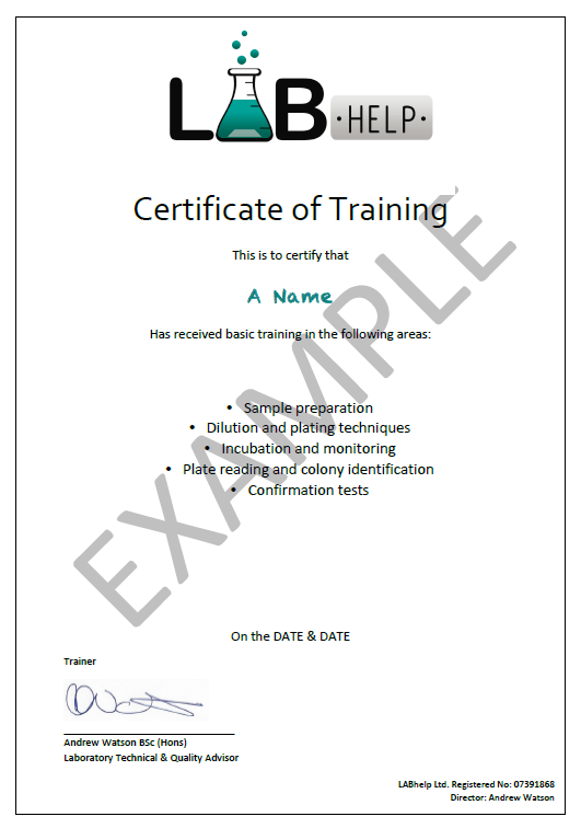 LabHelpCertificateOfTraining